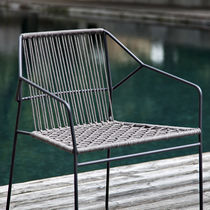 Contemporary chair / metal / with armrests / sled base