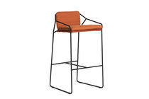 Contemporary bar chair / with armrests / sled base / stainless steel