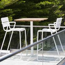 High bar table / contemporary / teak / HPL