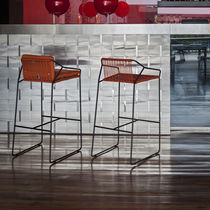 Bar chair / contemporary / stainless steel / commercial