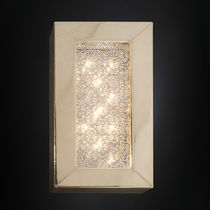 Original design wall light / crystal / leather / stainless steel