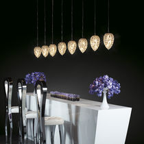 Pendant lamp / original design / crystal / stainless steel