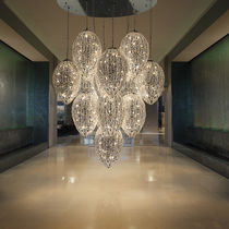 Original design chandelier / crystal / stainless steel / halogen