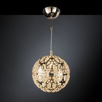 Pendant lamp / contemporary / crystal / stainless steel