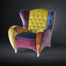 Contemporary armchair / fabric / wing / commercial