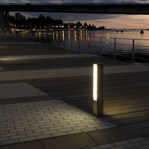 Urban bollard light / contemporary / stainless steel / acrylic