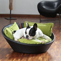 Leather dog basket / stainless steel / with removable cushion