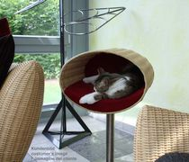 Wicker cat bed / stainless steel / with removable cushion / high