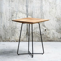 Contemporary side table / metal / oak / rectangular