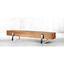 Contemporary bench / oak / pine / stainless steel