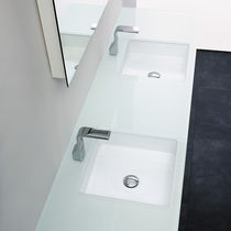 Double washbasin / built-in / square / ceramic