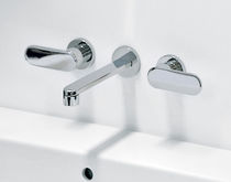 Washbasin double-handle mixer tap / wall-mounted / brass / chrome
