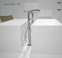 Bathtub mixer tap / floor-mounted / chromed metal / brass