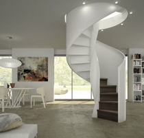 Helical staircase / wooden steps / stainless steel frame / with risers