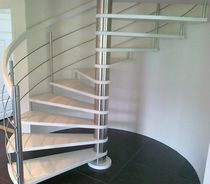 Spiral staircase / oak steps / stainless steel frame / without risers