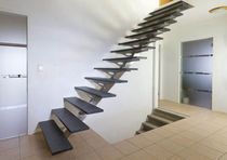 Straight staircase / stone steps / stainless steel frame / without risers