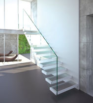 Straight staircase / stainless steel steps / glass steps / without risers