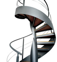 Spiral staircase / wooden steps / glass steps / metal frame