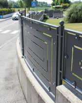 Garden fence / with panels / wrought iron / stained