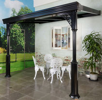 Wall-mounted pergola / self-supporting / aluminum / polycarbonate canopy