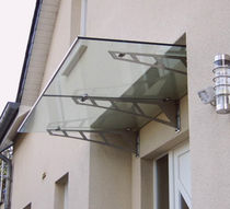 Entrance canopy / glass / stainless steel / precast