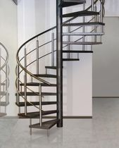 Spiral staircase / metal steps / metal frame / without risers