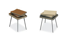 Contemporary side table / metal / birch / plywood