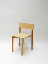 Contemporary chair / stackable / solid wood / ash