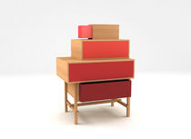 Contemporary chest of drawers / lacquered wood / ash / lacquered MDF