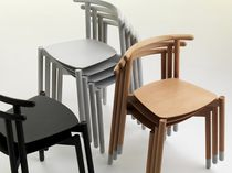 Contemporary chair / stackable / solid wood / beech
