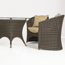 Traditional armchair / fabric / aluminium / resin wicker