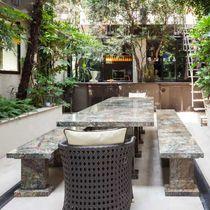 Contemporary table / marble / rectangular / garden
