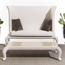 Traditional sofa / rattan / 2-seater / high back