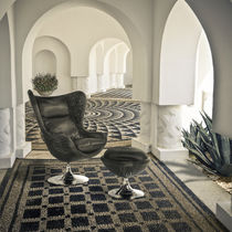 Contemporary armchair / swivel / rattan / garden