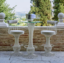 Traditional high bar table / glass / marble / ceramic