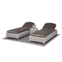 Traditional sun lounger / fabric / aluminum / resin wicker