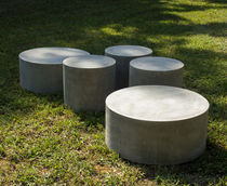 Contemporary coffee table / cement / round / for public areas