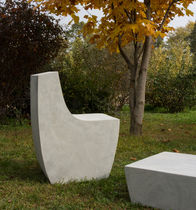 Contemporary garden chair / cement / fiber-reinforced concrete