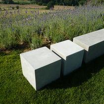 Contemporary coffee table / cement / square / garden