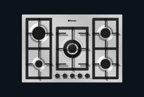 Gas cooktop / with grill / cast iron / wok