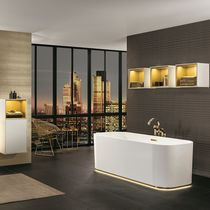 Contemporary bathroom / ceramic / lacquered wood