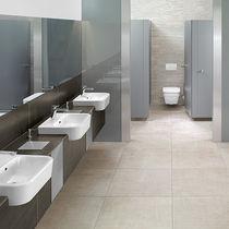 Semi-recessed washbasin / rectangular / ceramic / contemporary