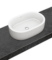 Countertop washbasin / oval / porcelain / contemporary