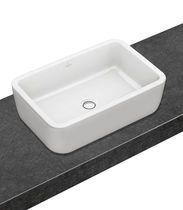 Countertop washbasin / rectangular / porcelain / contemporary