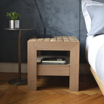 Contemporary bedside table / wooden / square / for hotels