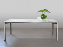 Contemporary dining table / brass / onyx / rectangular