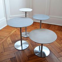 Contemporary side table / stainless steel / round / commercial