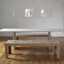 Contemporary bench / solid wood / custom