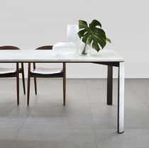 Contemporary dining table / brass / marble / rectangular