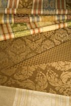 Upholstery fabric / patterned / cotton / damask